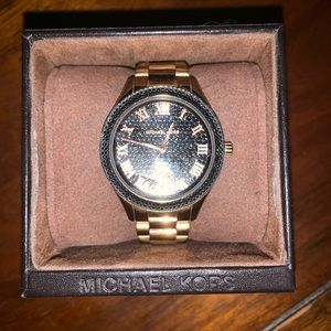 Michael Kors Rose Gold Black Crystal Face Watch